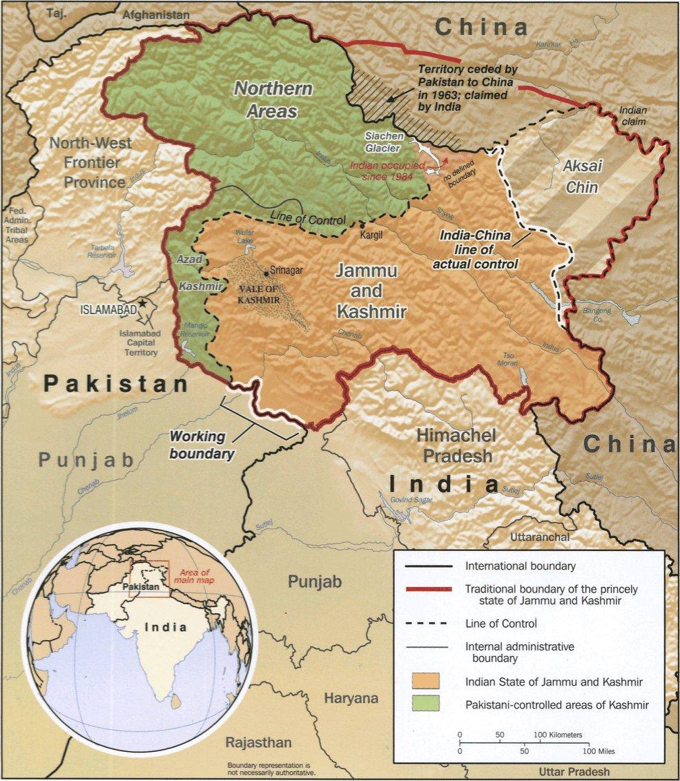 Cartina India Pakistan.India And Pakistan Kashmir And Melting Glaciers